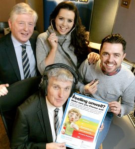 Health Minister Jim Wells and Ian Clements Chair of the Health and Social Care Board join Cool FM's Pete Snodden and Rebecca McKinney to launch the Choose Well campaign
