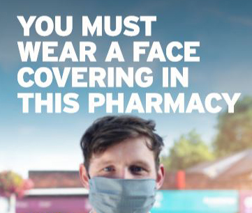 Pharmacy Face Coverings Posters.