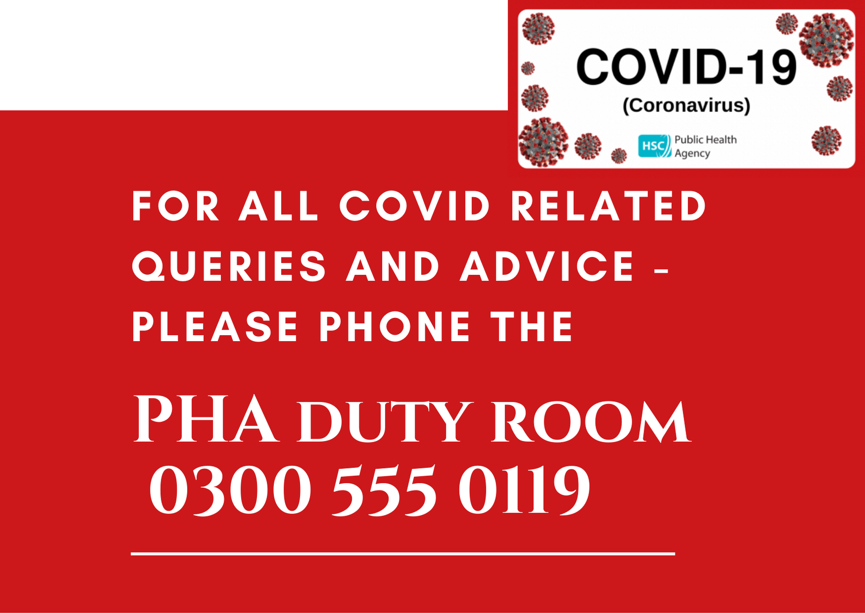 Pharmacy teams with COVID related queries should contact the PHA Duty Room 0300 555 0119